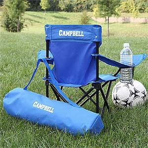 Toddler Personalized Blue Folding Camp Chair Kids Chairs