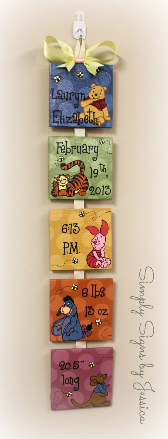Winnie the Pooh Style Birth Announcement for by SimplySignsByJess – Winnie the Pooh Birth Announcement