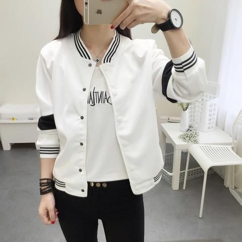 55331f2db 2018 Student Jacket New Spring Women Collar Cardigan Summer Jacket ...