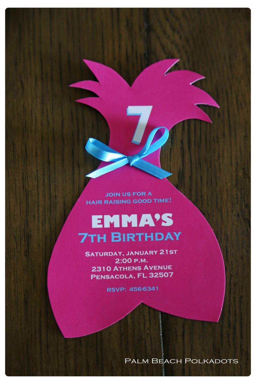 10 Troll inspired Birthday Invitations Invite by Palm Beach Polkadots by palmbeachpolkadots on ...