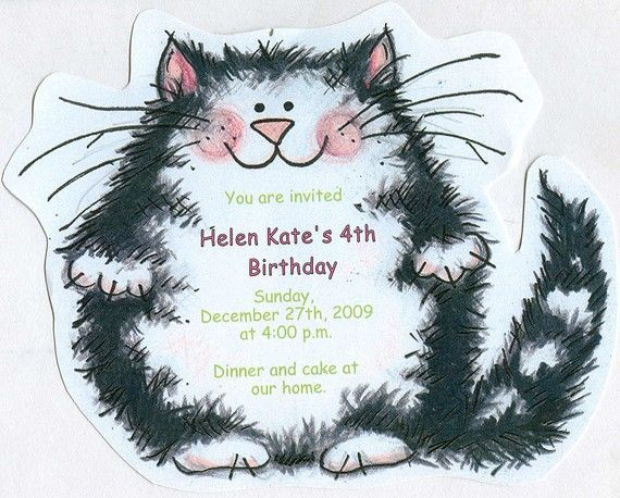 17 best images about Amys cat bday party ideas – Cat Birthday Invitations