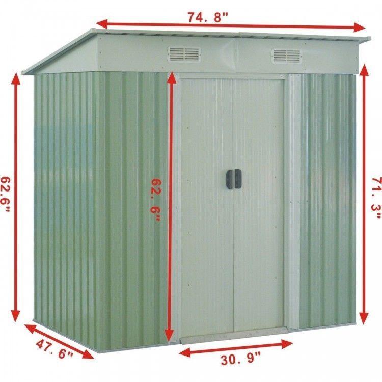 6u0027X4u0027 Outdoor Garden Storage Sheds Tool House Door Metal Steel Backyard Green  sc 1 st  Pinterest & 6u0027X4u0027 Outdoor Garden Storage Sheds Tool House Door Metal Steel ...