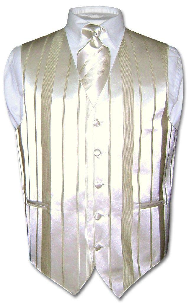 Mens Dress Vest Necktie RED Horizontal Stripe Neck Tie Woven Design Set