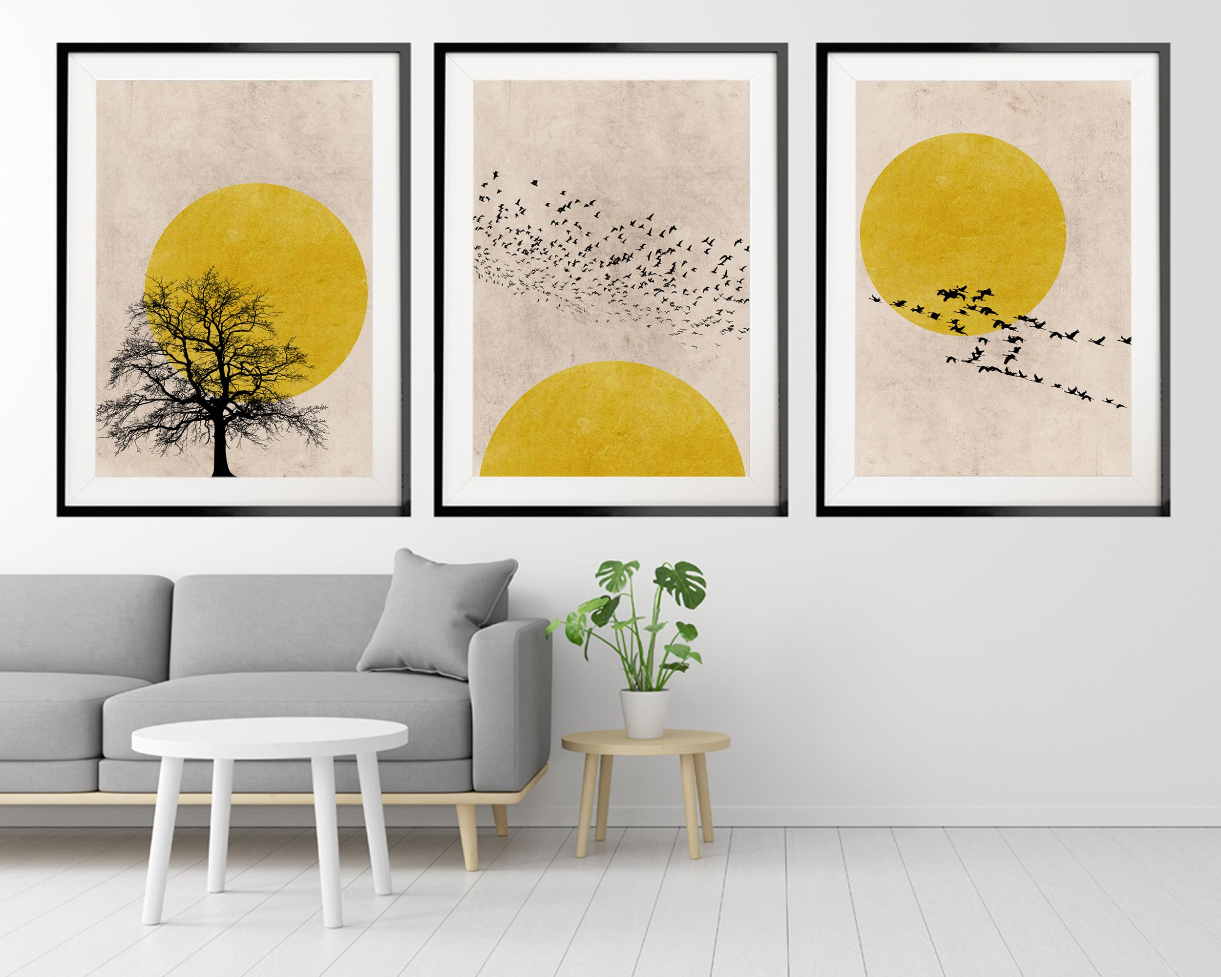 Minimalist Yellow Art Print Set. . . . . . #yellowhomedecor #yellowwallart #silhouetteart #nordicdesign #scandistyle #yellowartprint #printset #printsetof3 #wallart #homedecor #interiordesign #scandinaviandesign #nordicdecor #minimalisthome #artprintset #saffadesigns #wallartset #moderndecor #yellow