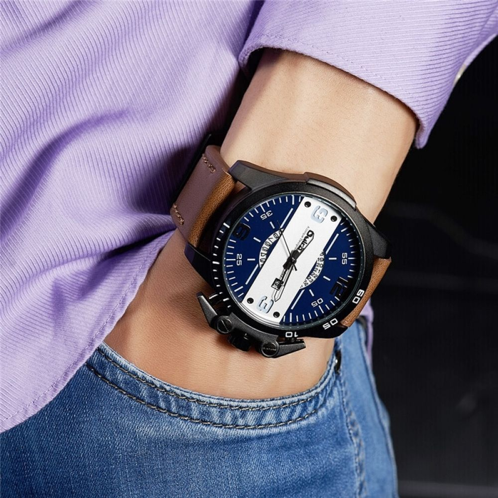 New Design Men S Watches Luxury Brand Casual Leather Wristwatch