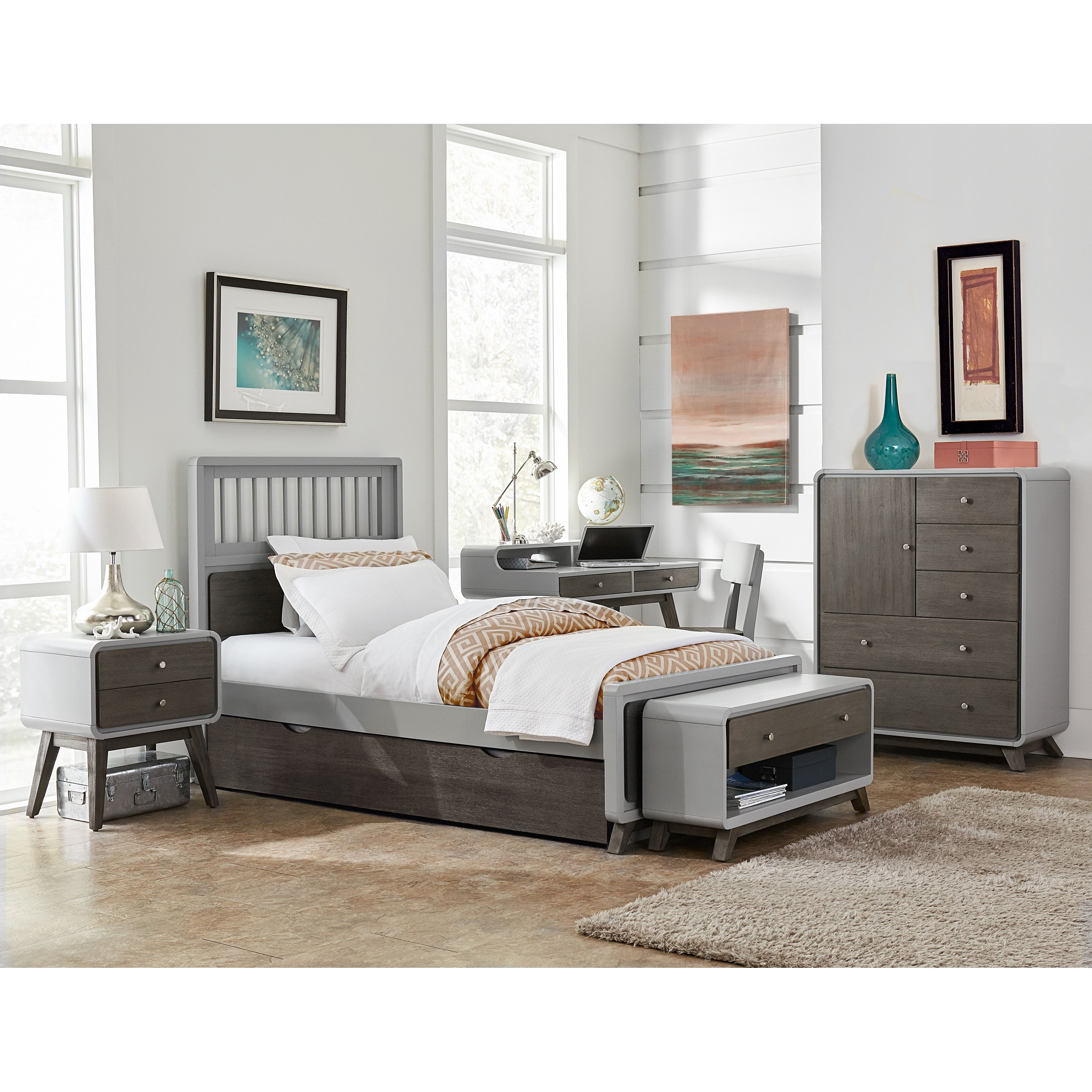 Hillsdale East End Grey Acacia Spindle Twin Bed With Trundle