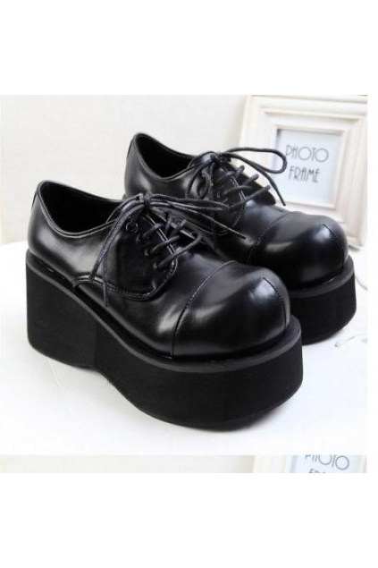 6ce892e20360 Lace Up Black Old School Vintage Platforms Oxfords Chunky Sole Heels ...