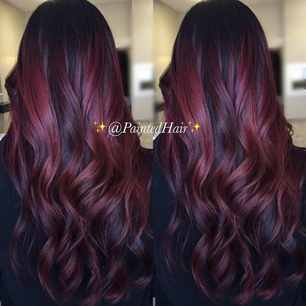 21 Amazing Dark Red Hair Color Ideas Stayglam Dark Red Hair Color Hair Styles Hair Highlights