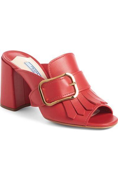 No?l coloré PRADA Kiltie Mule Fringe Buckle Strap Mule Kiltie prada Chaussures 1e067f