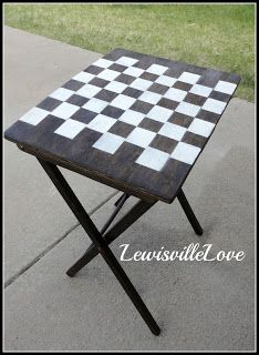 Lewisville Love T V Trays Become Chess Board Art Piece Chess Board Tv Tray Makeover Chess