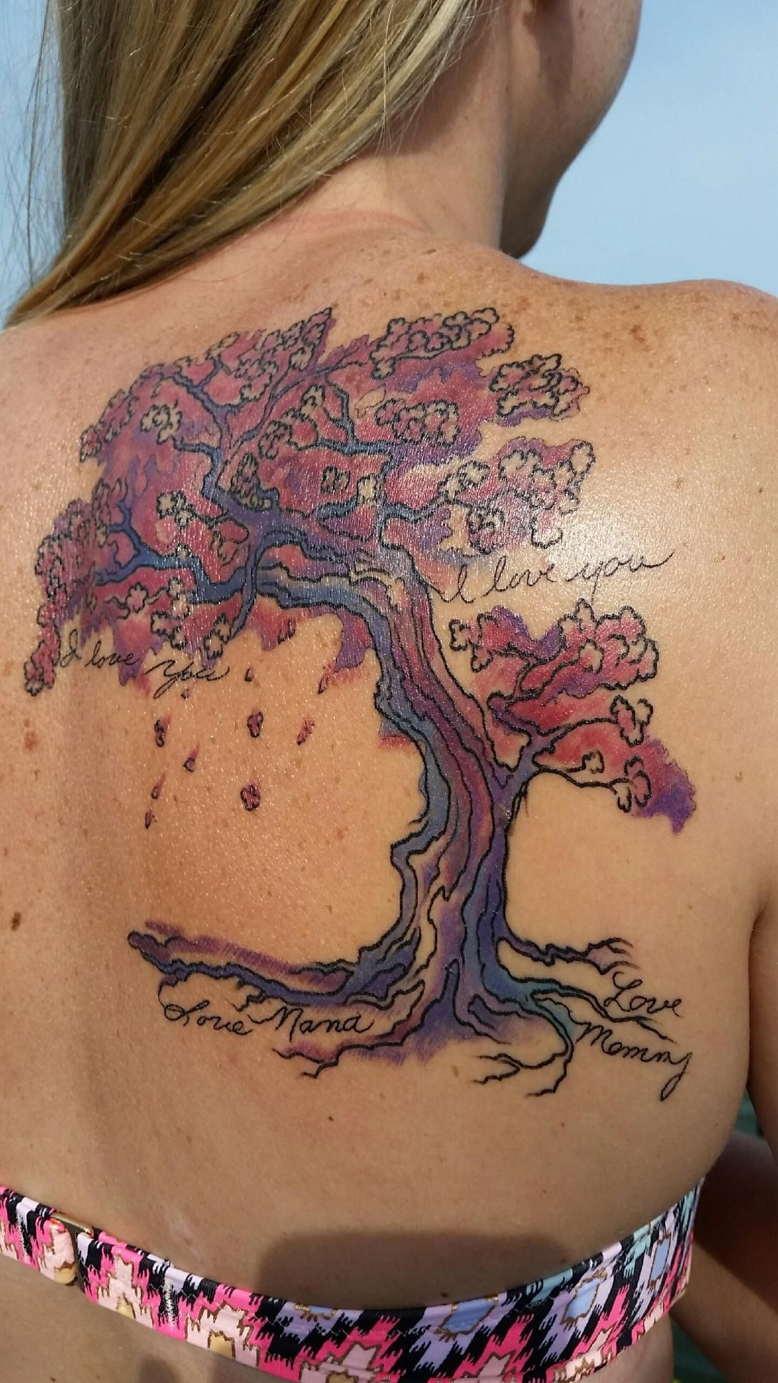 watercolor japanese cherry blossom tree with handwriting