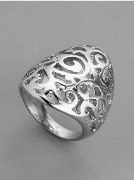 Ornate Filagree Curved Ring