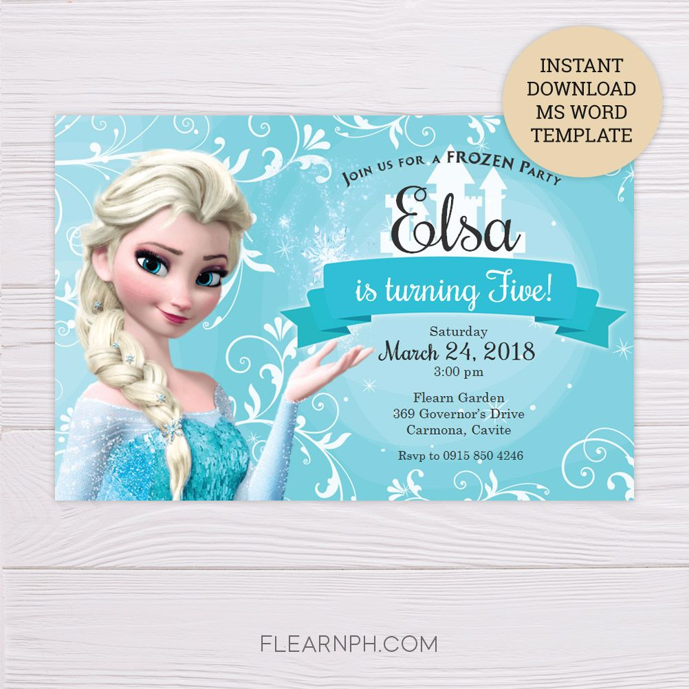 Frozen Elsa Invitation Template Dgtally Frozen Invitations Frozen Birthday Invitations Free Frozen Invitations