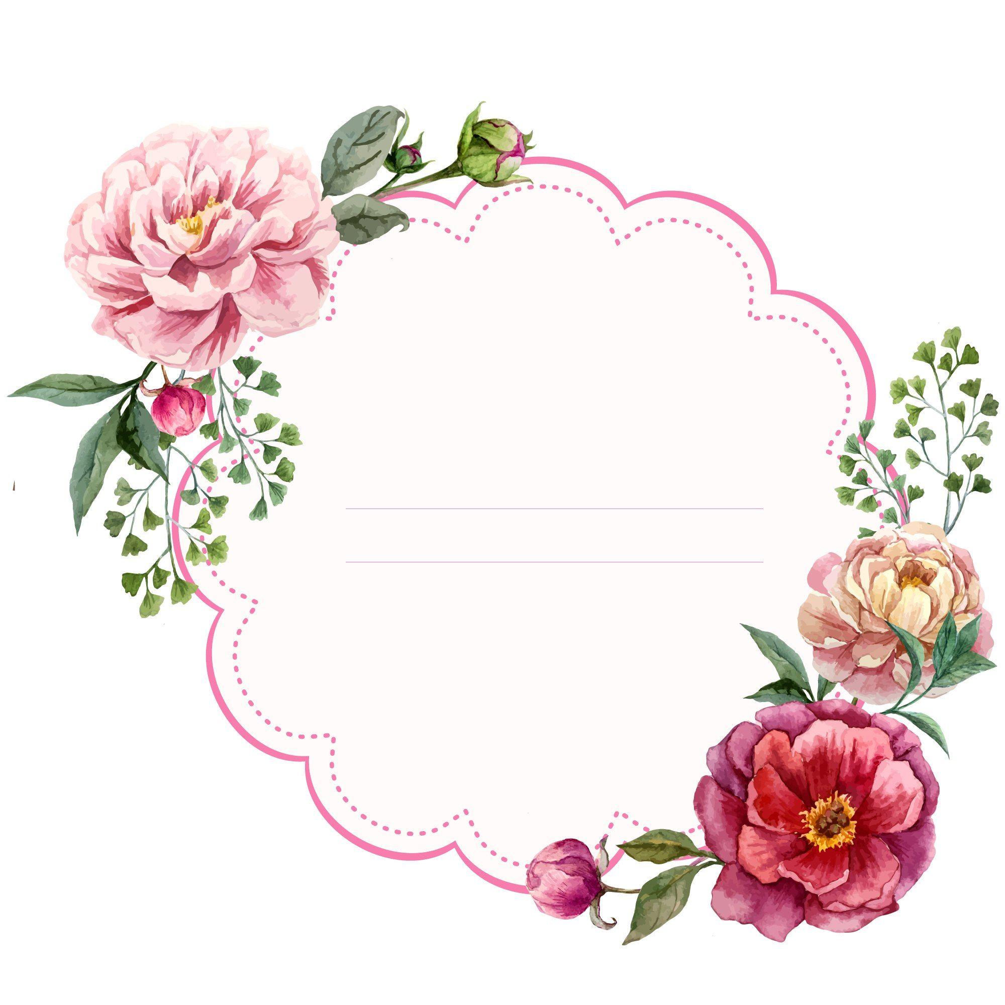 Scrapbook, craft, printables, flowers, illustration   Molduras ...