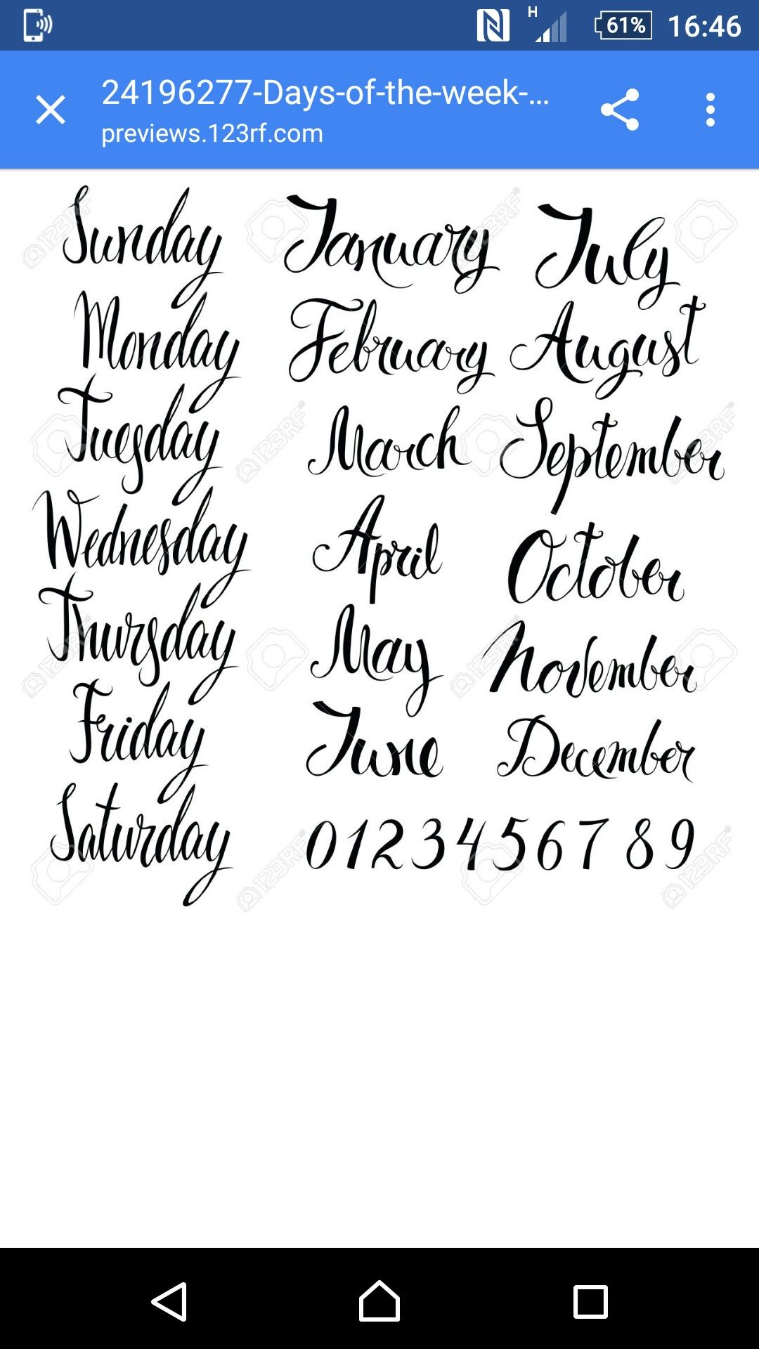 Months Calligraphy Handwriting Days Of The Week