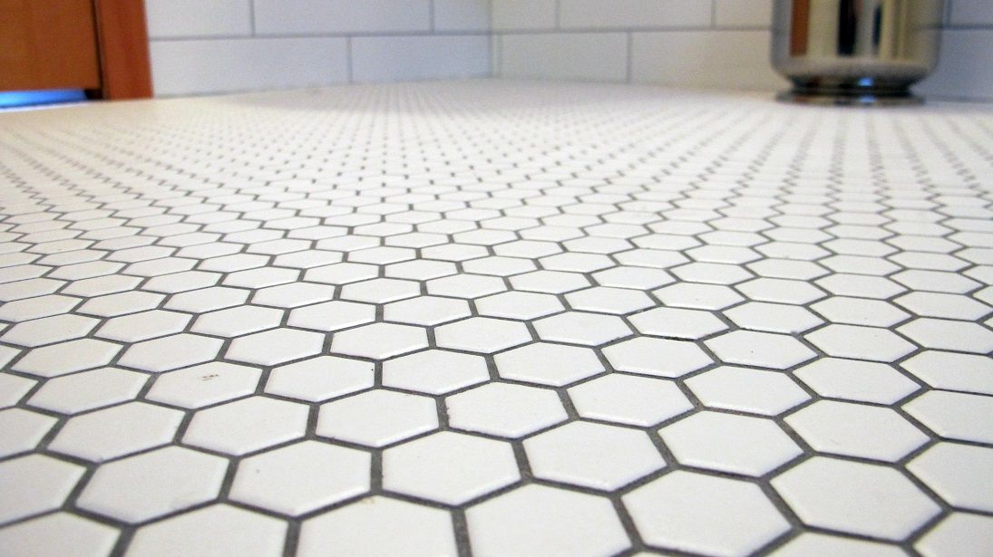 White Hexagon 1 Inch Tiles With Pewter Grout Mosaic Bathroom