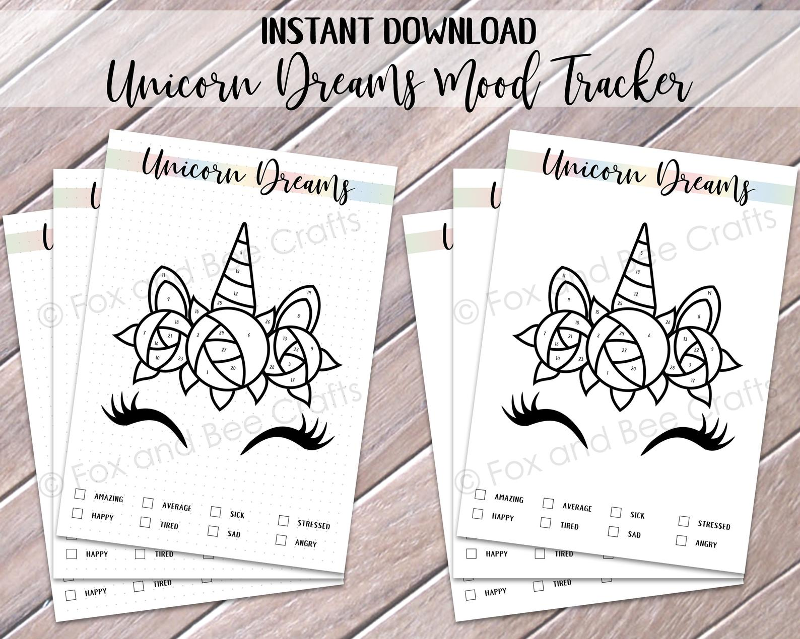 Set Of A5 Unicorn Dreams Mood Tracker Printable Bullet