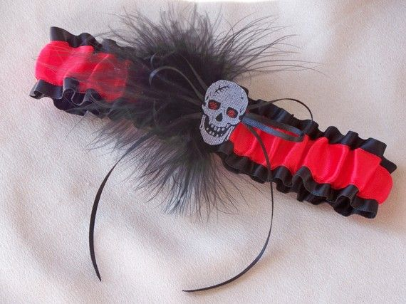 Gothic Wedding Garter Skull Black Red Feather Double Looped Punk