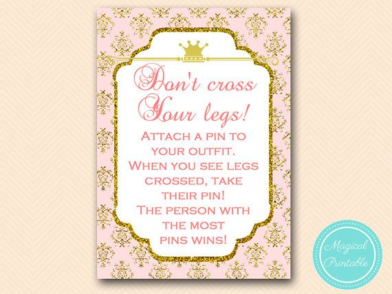 Baby Shower Clothes Pin Game Don't Cross Your Legs Game Clothespin Game Princess Baby Shower