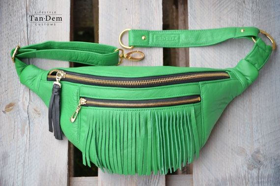 fb2813a8a33 Handcrafted green leather fringe waist bag / bum by TanDemCustoms ...