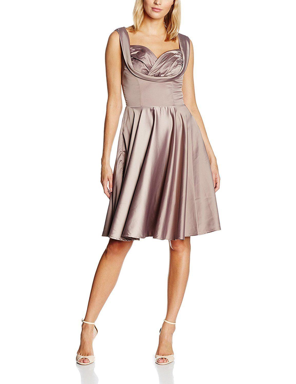 10, Grey (Grey), Lindy Bop Women\'s Ophelia Mink Grey Dress NEW   UK ...