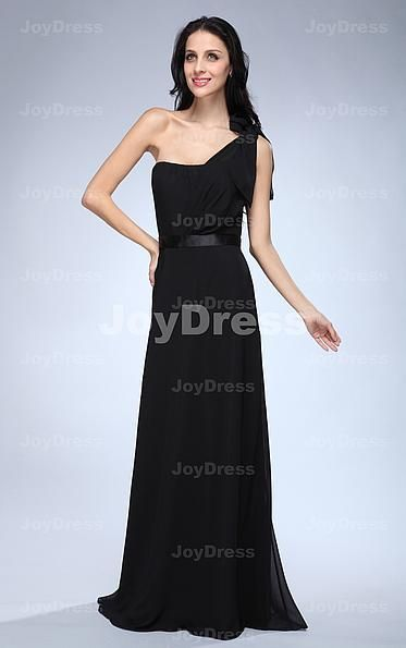 Bow A-line One Shoulder Floor-length Dress
