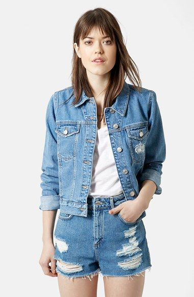 Topshop Moto Tilda Denim Jacket Denim Jacket Distressed Denim Jacket Womens Jackets Casual