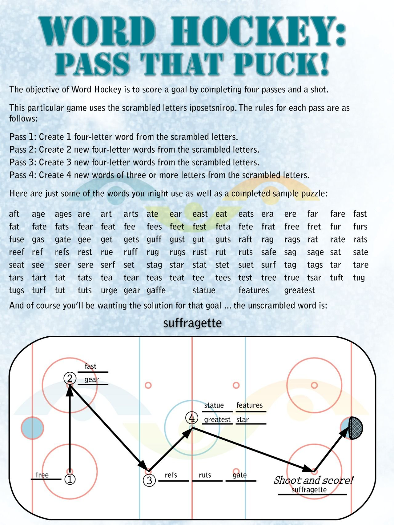 Word Hockey Puzzle Problem solving skills, Four letter