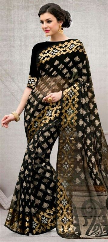 dc6234044e 718248 Black and Grey, Gold color family Printed Sarees in Super Net fabric  with Printed