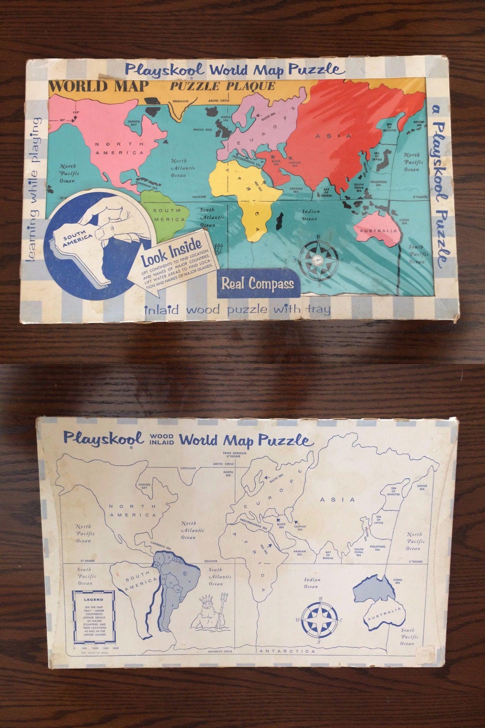 Tray 158751 playskool world map wood puzzle w built in compass 12 x tray 158751 playskool world map wood puzzle w built in compass 12 x 19 gumiabroncs Images