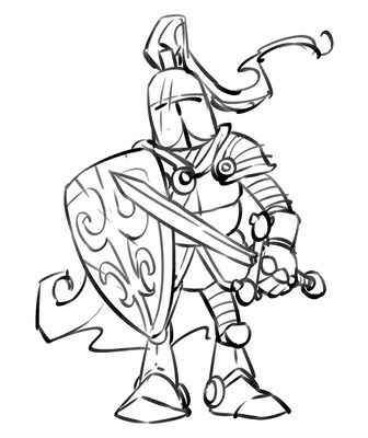 Cartoon Knight Coloring Page Medieval Warrior Just Free Image