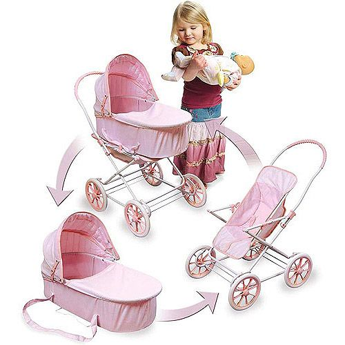 "Just Like Mommy 3-in-1 Doll Pram//Carrier//Stroller Fits 18/"" Doll Pink//Gingham"