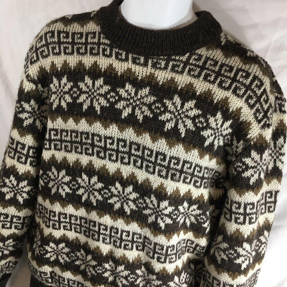 Mens L XL New Crew Neck Beige Grey Mix Jumper Acrylic Wool Pullover Sweater