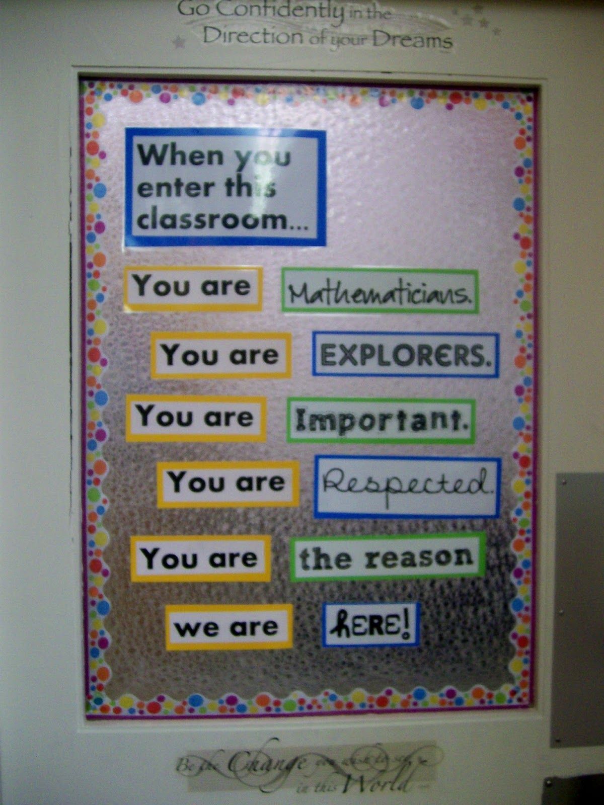 Middle School Math Bulletin Boards Reused My Door Decoration From