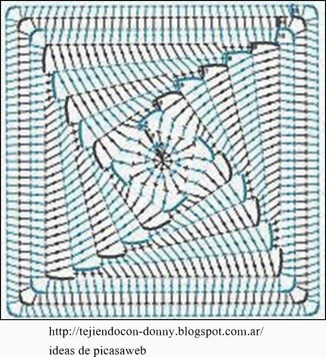 PATRONES - CROCHET - GANCHILLO - GRAFICOS: CUADRITOS CON SUS ...