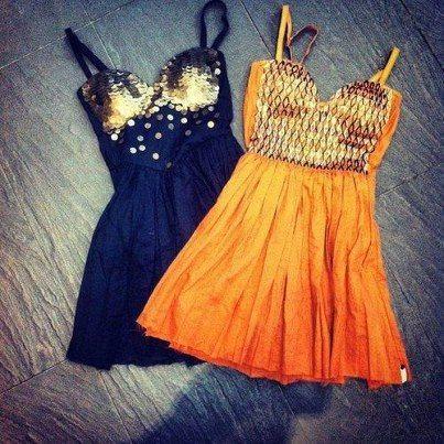 Orange and Black summer skirt fashion for ladies
