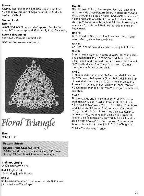 motivi crochet trinagolari floreali