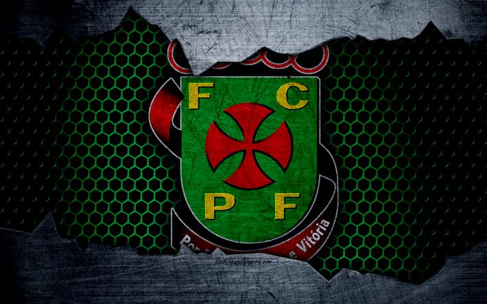 Download wallpapers pacos de ferreira FC, 4K, football club, logo, emblem, Pasush di Ferreira, Portugal, football, Portuguese championship, metal texture, grunge