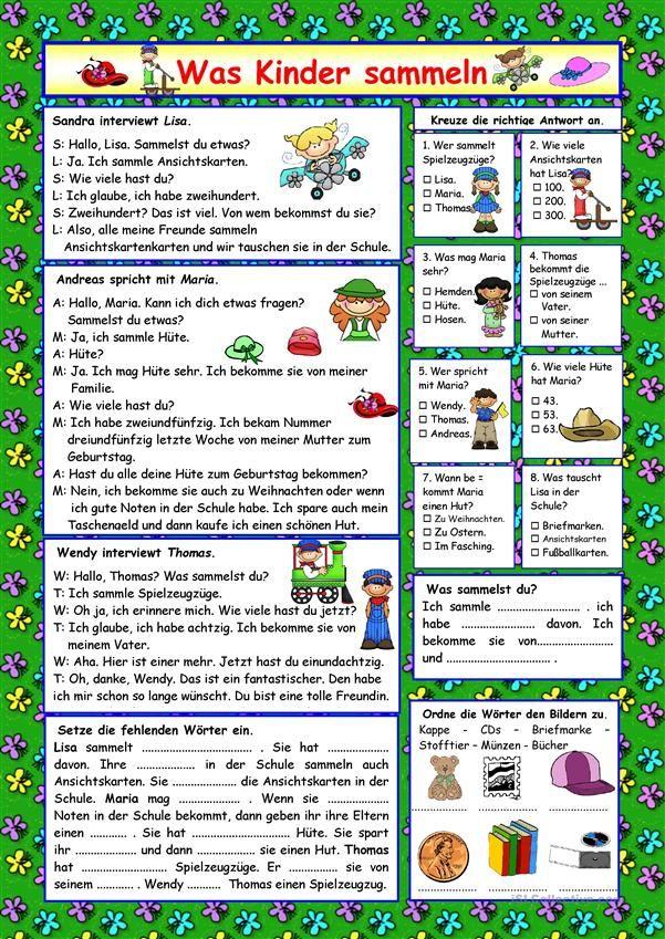 Was Kinder sammeln (+ Lösung) | Deutsch für Kinder (Arbeitsblätter ...