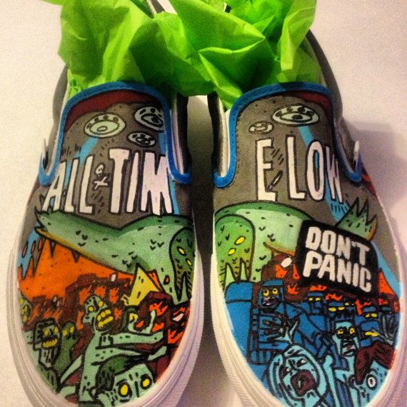 e11ae1e67d Custom Hand Painted All Time Low Slip Ons (NOT VANS BRAND)