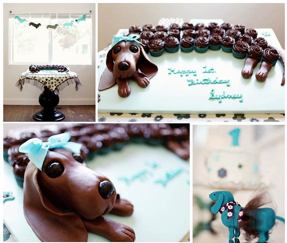 dog birthday party cupcake cake