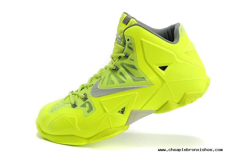 616b8cc71ed Cheap Fashion 616175-700 Fluorescence Green Silver Nike LeBron 11 ...