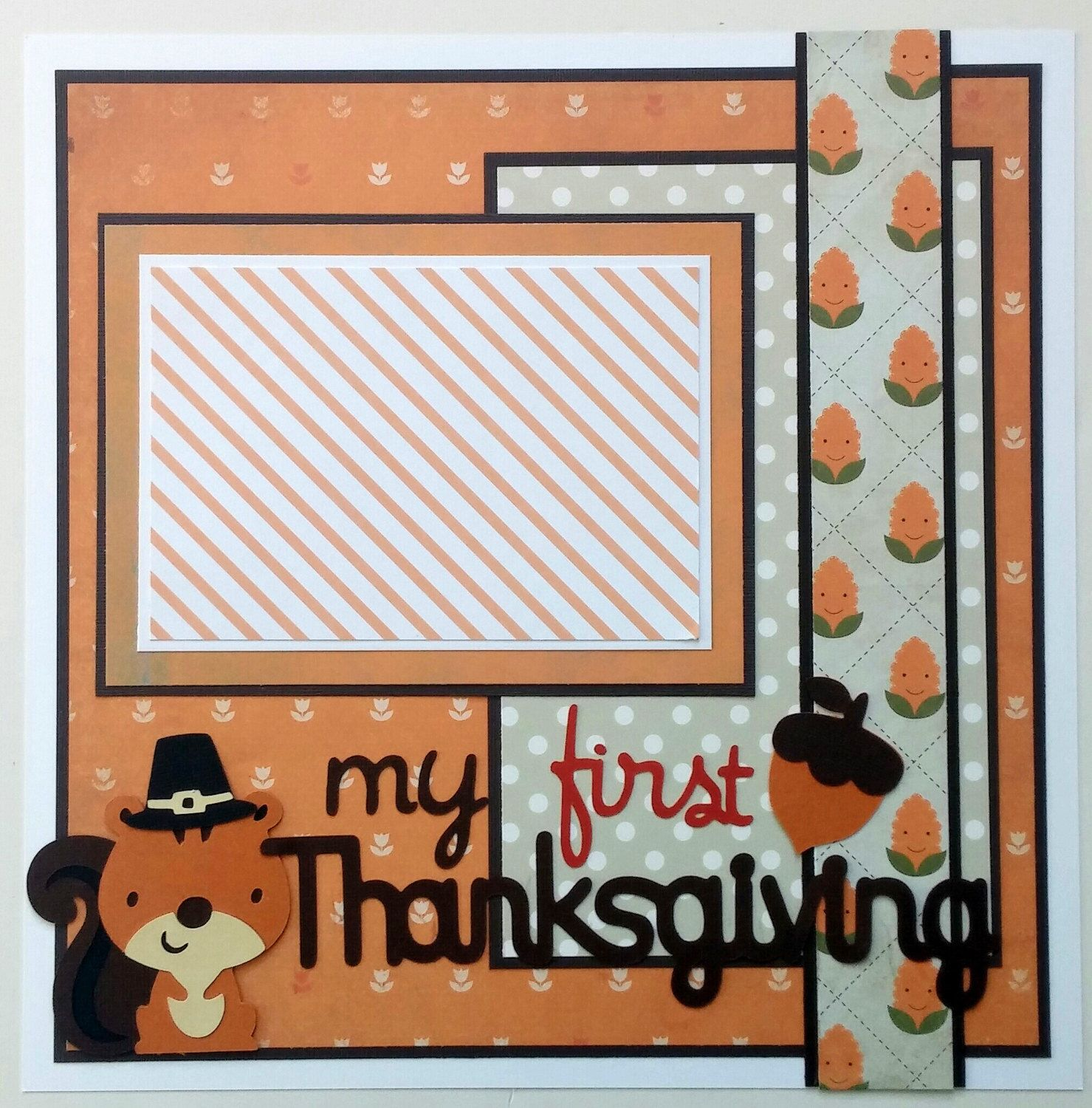 How to scrapbook 8x8 layouts - Babys First Thanksgiving Scrapbook Layout Baby Premade Scrapbook Page For Baby Baby S Firsts 12x12 Premade Scrapbook Layout
