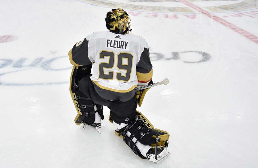 Las Vegas Nv December 23 Marc Andre Fleury 29 Of The Vegas Golden Knights Warms Up Prior To A Game Against The Los Angeles Kings A Golden Knights Golden Knights Hockey