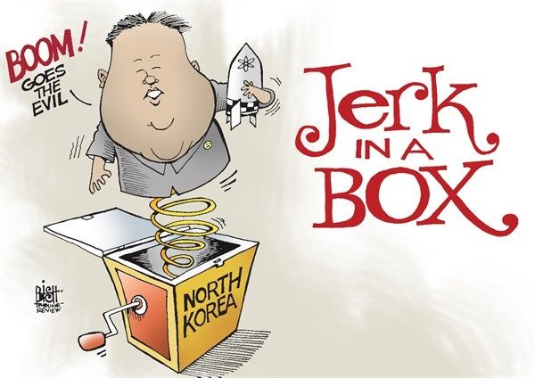 I think this cartoon is talking about how Kim Jung-Un is a jerk by saying he is bombing places.