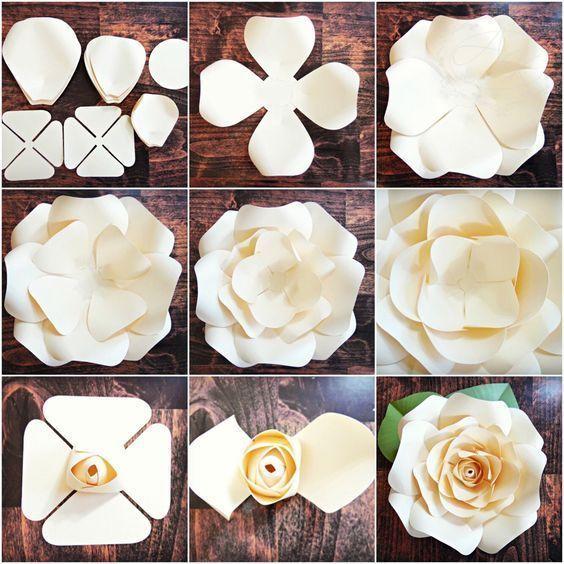 Photo of DIY Riesen Papier Rose Muster Vorlagen und Tutorials, Garten…