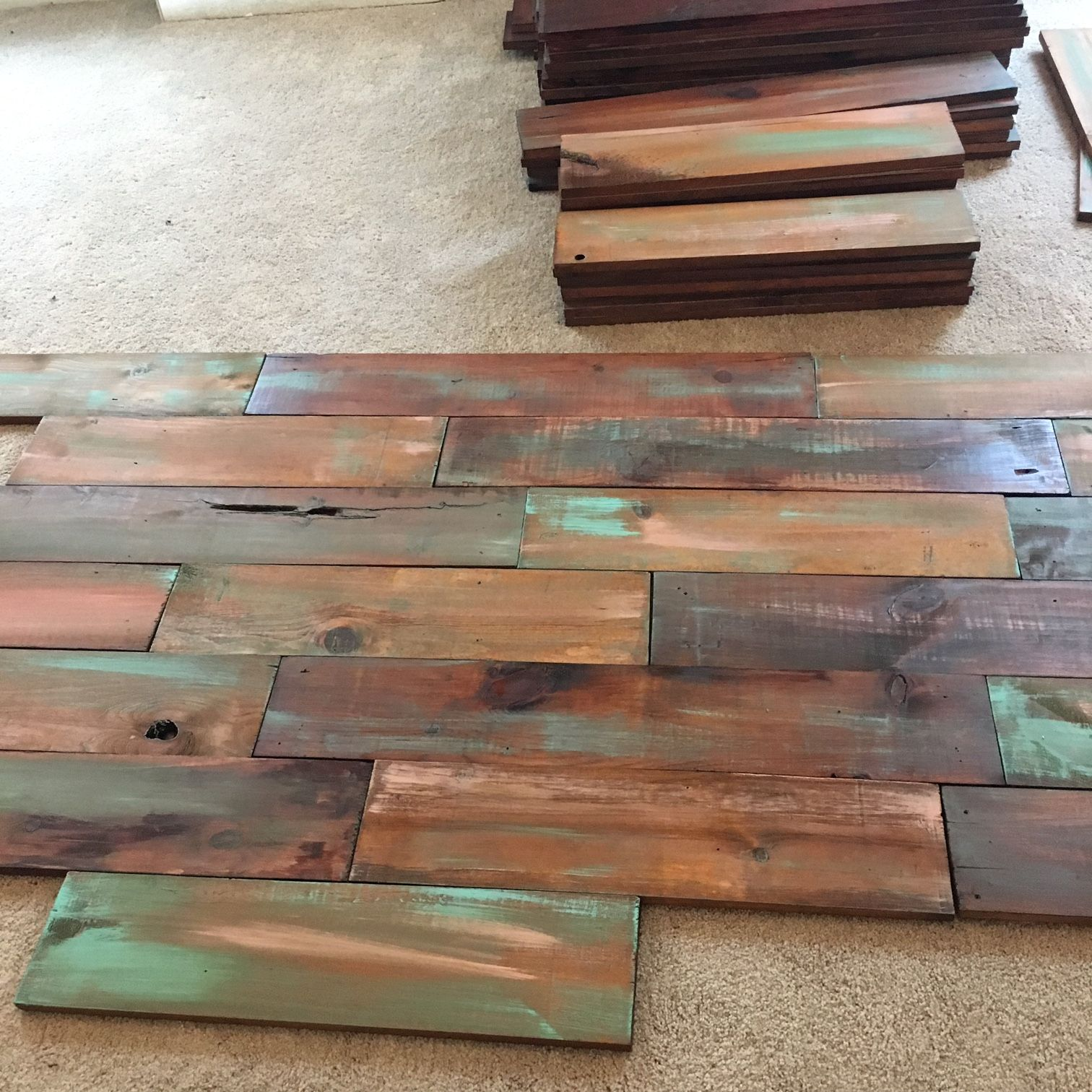 Accent Pallets Planks On A Painted Wall: I Cleaned, Stained And Added Coral/teal Paint To These
