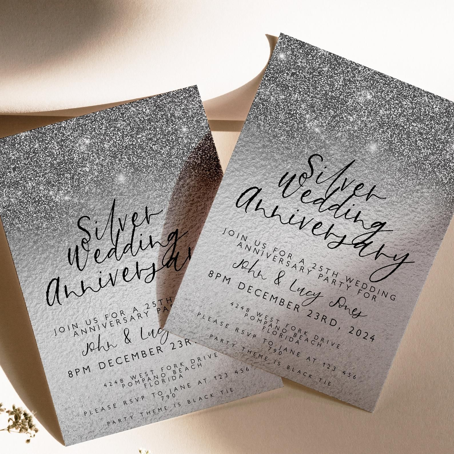 25th Anniversary Invitation 25th Wedding Anniversary Editable Invitation Template Silver Wedding Party Instant Download Printable Anniversary Invitations Wedding Anniversary Invitations 25th Wedding Anniversary