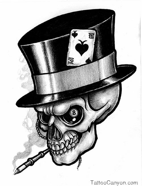 Skull And Top Hat Tattoo Illustrations, Royalty-Free