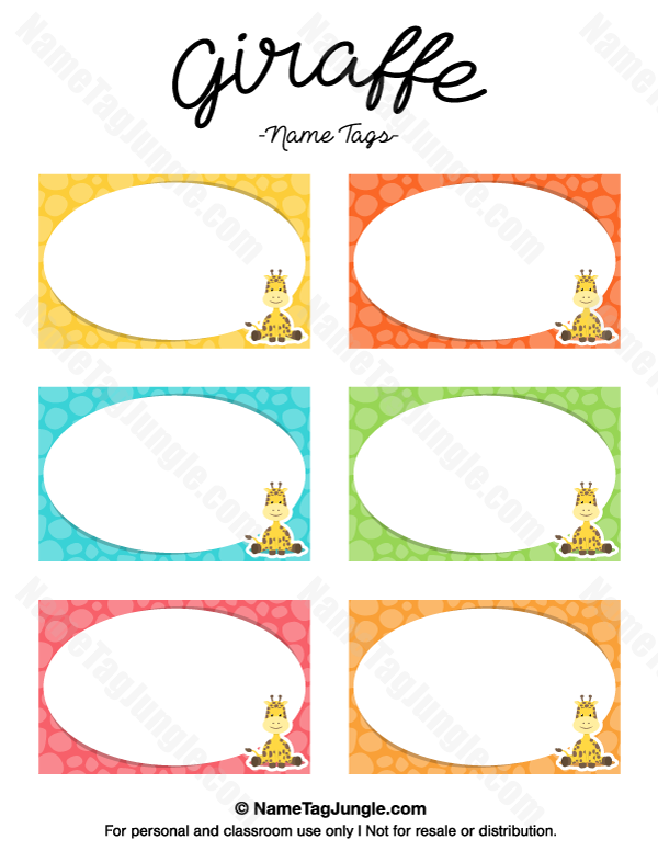 free printable giraffe name tags the template can also be used for creating items like